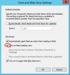 IE feed render settings