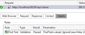 Find text validation rule value2 passed