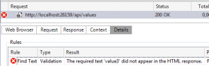 Find text validation rule value3 failed