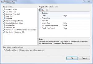 Webstest add validation rule